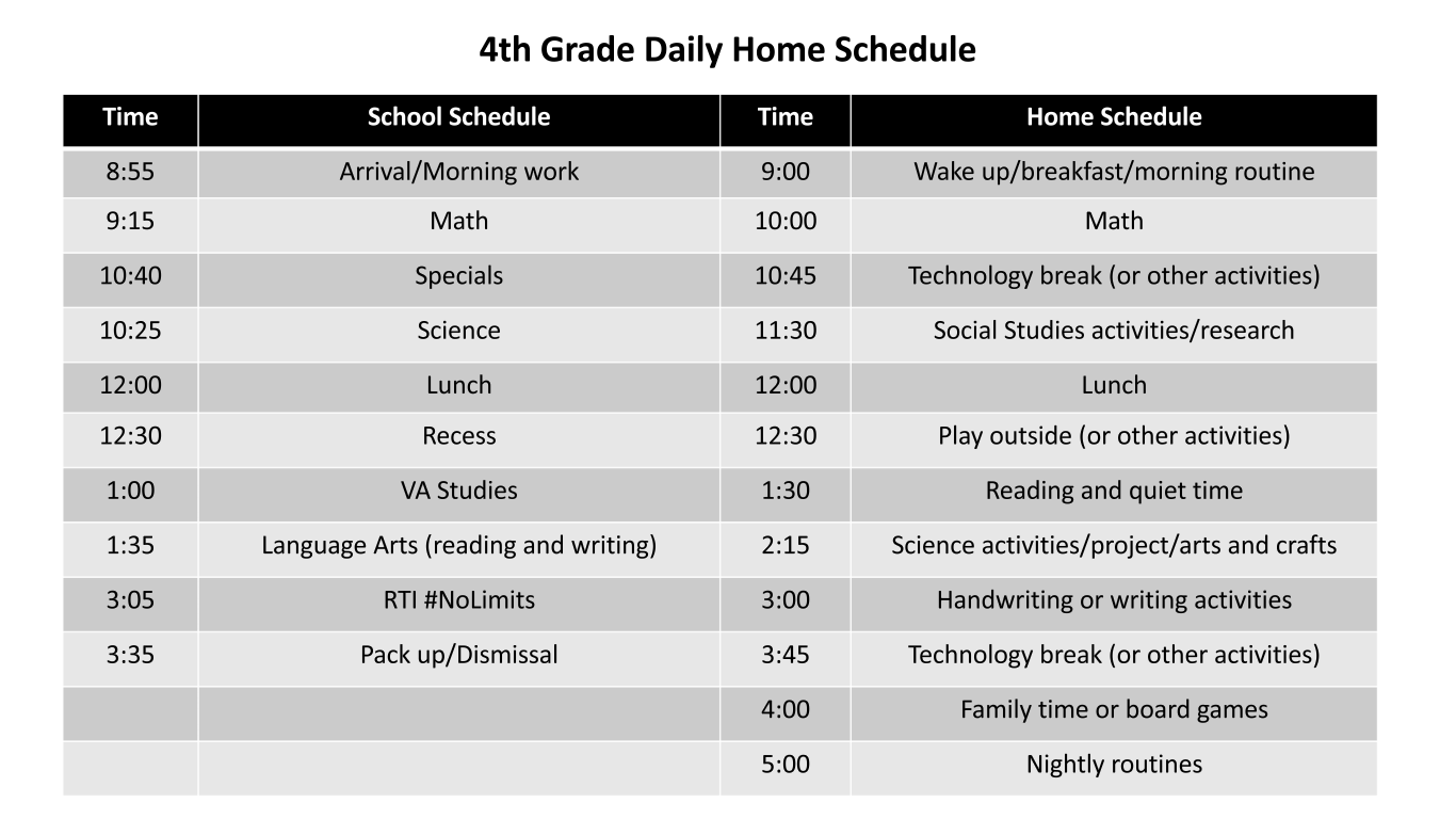 Daily schedule by subject area